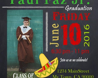 Fiesta Graduation Invitation Graduation Party Invitation DIY Printable Party Invites Grad PHOTO