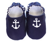 Nautical Baby Boy Shoes with Anchors, 0-6 mos. Navy Baby Booties, Baby Gift, Soft Sole Baby Shoes, Baby Shower Gift