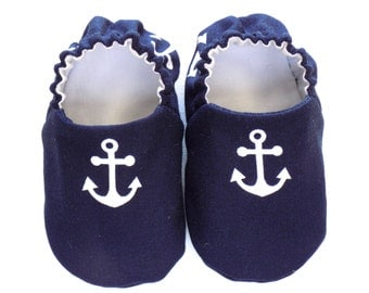 Nautical Baby Boy Shoes with Anchors, 0-6 mos, Navy Baby Booties, Baby Gift, Soft Sole Baby Shoes, Baby Shower Gift