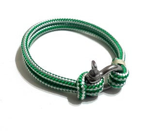 Nautical Sailing Bracelet  Stainless steel  Shackle-Paracord Bracelet-Mens Bracelet-Rope Bracelet-GREEN