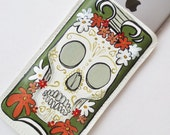 SURFS UP! -  60s FLORAL Skull - Hand-Painted Leather iPhone 6 Case - Phone Sleeve