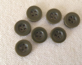 Vintage Olive Green Round Buttons Sew-through 3.13mm ( 7) pcs. 4 holes buttons Craft Supplies