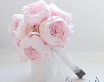 Blush Peony Bouquet - Large Blush Peony Bouquet, Silk Peony Bouquet, Peony Wedding Bouquet, Pink