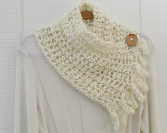 Crochet Button Fringe Scarf Ivory Cream Button Neckwarmer Scarflette Cowl