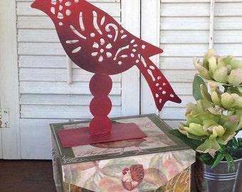 Red Standing Metal Bird - Cottage Chic Filigree Pattern
