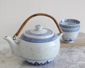 Oriental Teaset - Vintage Chinese Ceramic Teapot With Two Matching Tea Cups - Boho Decor - Chinoiserie Chic