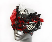 Skeleton Mask, Halloween Masquerade Mask, Gothic Costume Accessories Headpiece, Black Lace Venetian Mask