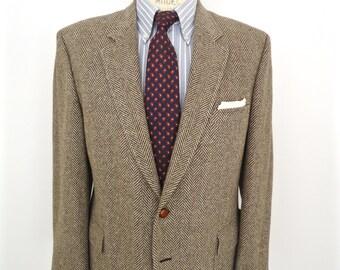 Vintage Tweed Sport Coat / Jordache brown herringbone wool suit jacket / men's large