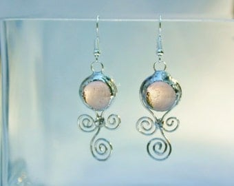 Blush Color Stained Glass Drop Earrings Swirl Motion Design Original Handcrafted Jewelry
