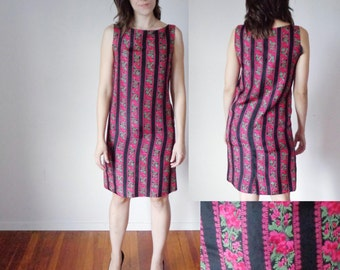 Vtg 50s BLURRED Black, Green & Pink FLORAL STRIPE Silk Slim, Sleeveless Dress, Small