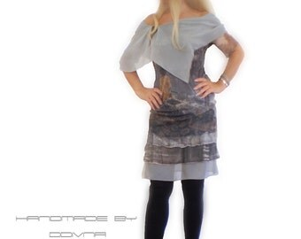 gray  dres, silk collar , printed dress with love story in front