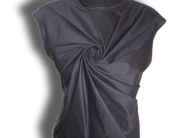 Black sleeveless unique art top or blouse Draped Front Sleeveless Top