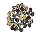SALE Wholesale 50 Skeleton Cameos Skull Mixed Lot Gothic Victorian Steampunk Cabochon 40x30 mm Resin Various Overstock Memento Mori Findings