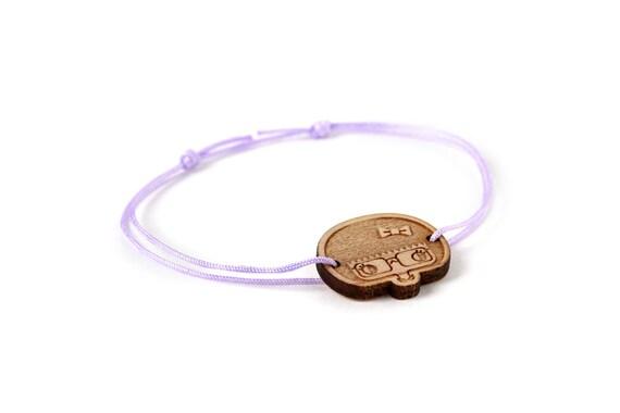 Esther bracelet - 25 colors - cute geek girl bangle - adjustable bracelet - lasercut maple wood - graphic character jewelry - customizable