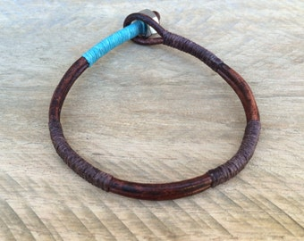 Mens Bracelet, Mens Jewelry, Leather Bracelet, Blue and Brown Bracelet, Stainless Steel Nut, Affordable Gift, Quality Jewelry, Unique Gift