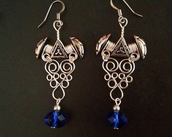 Silvertone Filligree Earrings with Blue Chinese Crystals