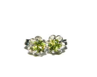 Natural Peridot Earrings, Sterling Silver Over 1/2 Carat