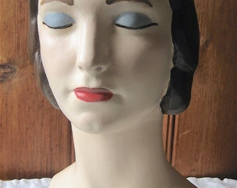 Closed Eyes Mannequin Head - Female Classic Style Bust - Millinery Hat Stand - Artist Painted Custom Milliner's Mannequin - Shop Photo Prop