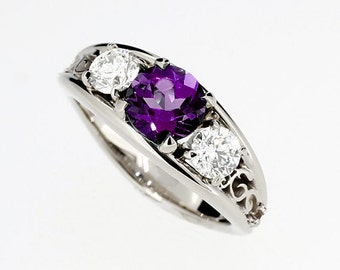 Purple spinel and 0.50ct Diamond filigree ring, white gold, engagement, trinity, Purple engagement, diamond wedding, unique, spine, violetl