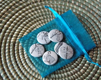 "Musicians And Instruments Magnet Or Pinback Button Set - Six 1"" Magnets Or Buttons With Organza Gift Bag - Ready To Ship"