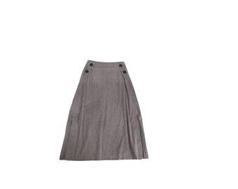 Midi Skirt / 1990s / Buttons / Double Slits / Minimalist / 30 31 Waist