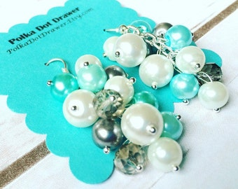 Robins Egg Blue Gray & White Cluster Pearl Earrings - Everyday Fancy or Bridesmaid wedding - Crystal Beaded Jewelry Drop Silver