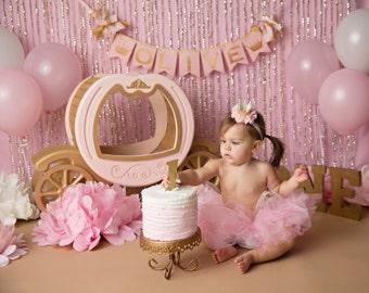 PINK & GOLD First Birthday BANNER /Princess baby shower banner / 1st birthday girl / 1 year old birthday girl. Winter onederland decorations