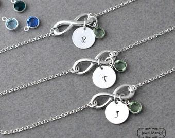 Silver infinity initial birthstone Bracelet, everyday Bracelet, infinity jewelry, everlasting lover, enternity, gift for BFF, swarovski