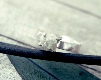 White grey diamond ring, raw diamond ring, raw grey diamond ring, promise ring, engagement ring, raw diamond ring, rough diamond, natural