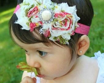 Baby Shabby Headband. Floral Headband. Baby Flower Headband. Coral Headband. Newborn Headband. Adult Headband. Girl Headband. Photo Prop.
