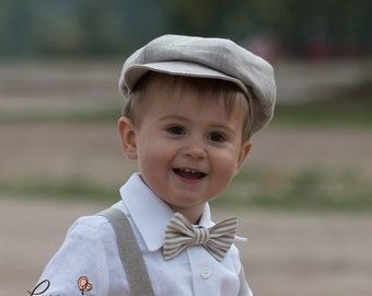 Boy newsboy hat baby boy linen newsboy hat ring bearer first birthday baptism cap boy photo prop rustic wedding newsboy hat natural ivory