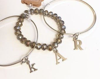 Monogram/Initial Bracelet - Beaded or Silver Colored Bangle