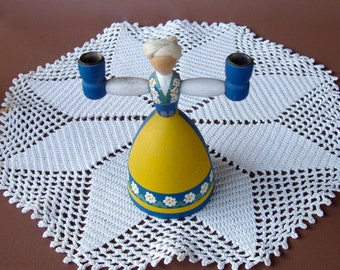 Vintage Swedish Folk Art Candle Holder . Handmade Wooden Lady from Sweden .