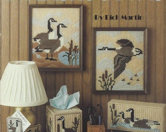 Plastic Canvas Pattern Canada Geese Pictures - Leisure Arts #1183 - Tissue Box Cover, Magnets, Coasters, Doorstop, Wall Hanging, Bookend