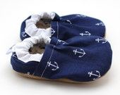 anchor baby shoes, navy blue, sailor baby, toddler shoes, anchor booties, soft sole shoes, cloth baby shoes, toddler slippers, nautical baby