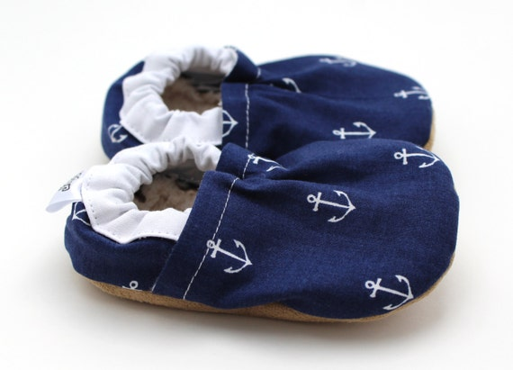 anchor baby shoes, navy blue, sailor baby toddler shoes anchor booties coast mariner tula coast seafarer tula cloth baby shoes nautical baby