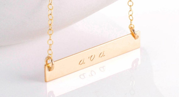 Personalized Gold Bar Necklace, Name Necklace, Silver Bar Necklace, Nameplate, Custom Bar Necklace, Layering Necklace, Personalized Bar