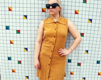 NANCY DREW 100% Silk Camel Button Down Sleeveless 1990s Brown Caramel Womens Shirt Dress