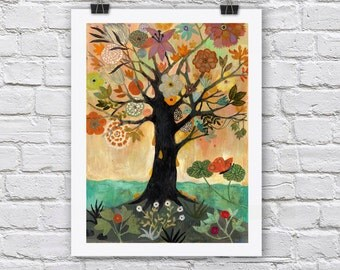 Tree of Life print / AMBER TREE / A4 / A3 Signed Inkjet Fine Art Print