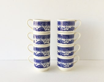Vintage Blue Willow Stackable Cups Set of Eight, Small Coffee Mugs, Blue and White Stacking Mugs Asian Motif Blue and White Cups Made in USA