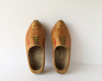 Authentic Vintage Dutch Clogs Wooden Shoes, Dutch Farming Gardening Shoes, Dutch Costume Daily Wear Wood Shoes, International Cottage Decor