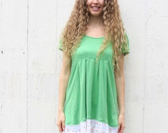 Upcycled Tunic Dress - babydoll green top - bohemian clothing - mori girl clothes for women size XL - cowgirl rustic repurposed top