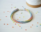 Knit Beaded Fiber Bracelet - Rainbow Crochet Bracelet - Knitted Fiber Eco Jewelry - Unisex Crochet Jewelry