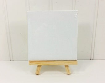 Canvas Panel and Easel Set, Miniature Art Panel and Natural Wood Easel