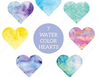 Watercolor Hearts Clip art, Heart Clipart, hearts, cute, water color, hearts, love - Commercial & Personal - Instant Download