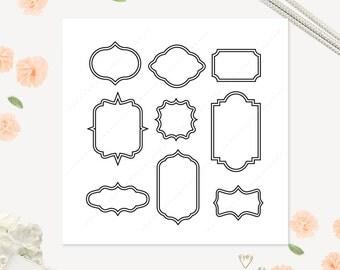 Frame Clip art, Simple Frame Digital clipart, Vintage Frames, cute, frame, wedding, clipart, borders, badges clip art - Instant Download