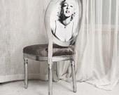 Silver Velvet Animal Print French Side Accent Chair with Pop Art photo upholstered in Grey Chenille Velvet Dining Chair