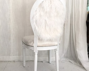 Ostrich Feather Dining Accent chair Upholstered in Ivory velvet on white glossy French Louis XVI frame