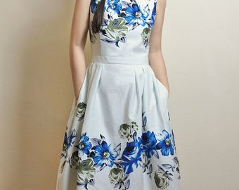 Blue Floral dress, Cotton-satin dress, Made to Order
