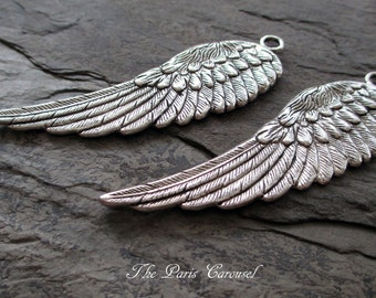 large wings charms or pendant jewelry component silver toned angel fairy feather earring necklace suppy, 1 pair
